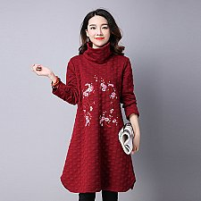Buy women embroidery high neck midi coat dress