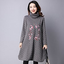 Buy women embroidery high neck midi coat gray