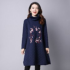 Buy women embroidery high neck midi coat blue
