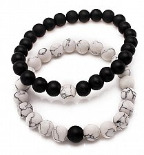 Buy 2pcs tiger eye stone beads bracelet white with black