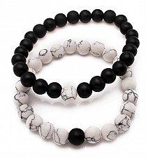 Buy 2pcs tiger eye stone beads bracelet white with black