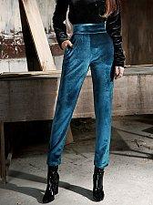 Buy women velvet high waist pants