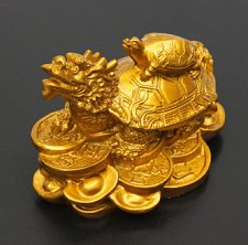 Buy feng shui turtle dragon wealth money figurine