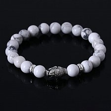 Buy lava stone fashion buddha beads bracelet white
