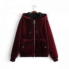 Buy Women velvet warm zipper up coat