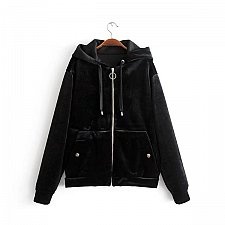 Buy Women velvet warm zipper up coat black