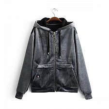 Buy Women velvet warm zipper up coat gray
