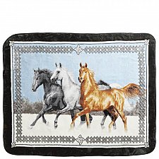 "Buy Running Horses~60""x80""~High-Pile Animal Throw"