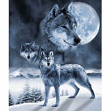 "Buy Full Moon Wolves~48 ""x 60""~Faux Fur Appealing Animal Throw"