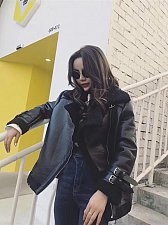 Buy women lambswool jacket coat black
