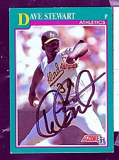 Buy Dave Stewart, RHP, Athletics, Score Trading Card 150