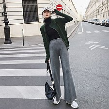 Buy women loose leg pants gray