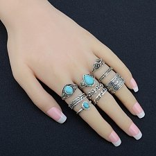 Buy 10pcs vintage rings silver plated