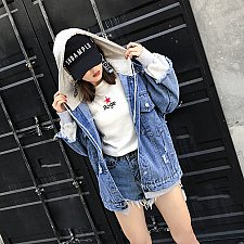 Buy women denim patchwork Hoodies jacket