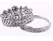 Buy women cross silver plated 2PCS ring