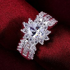 Buy women cross silver plated wedding ring