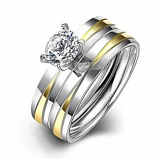 Buy 2PCS women cross silver plated ring