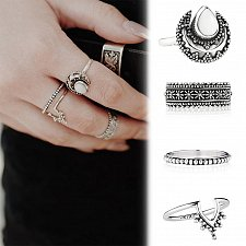 Buy 4pc silver plated ring