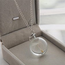 Buy silver glass pendant necklace