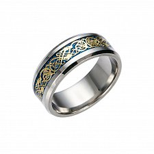 Buy men GOLD & BLUE ring stainless steel
