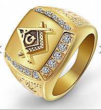 Buy men fashion GOLD titanium steel ring