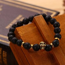 Buy fashion women men skull with beads bracelet