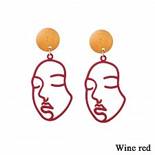 Buy Women funny face earring RED