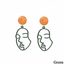 Buy Women funny face earring green