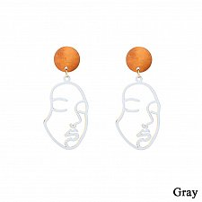 Buy Women funny face earring grey