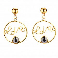 Buy Women love letter earring black