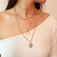 Buy 3 layer women girl fashion necklace