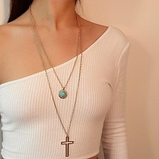 Buy women 2 layers cross necklace
