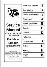 Buy JCB 3CX, 4CX, 214e, 214, 215, 217 Backhoe Loader Service Manual CD --- 3 4 CX
