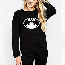 Buy women cute printed top hoodies pullover black