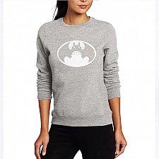 Buy women cute printed top hoodies pullover grey