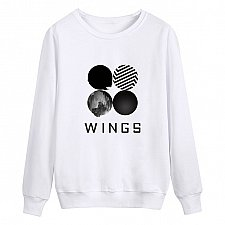 Buy women printed letter pullover top hoodies white