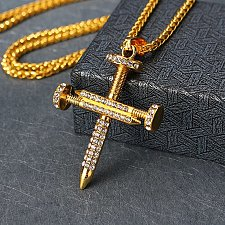 Buy Men women cross 18K gold plated necklace