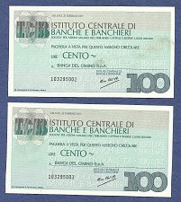 Buy ITALY 150 Lire 1977 -Lot of 2 Banknotes -Instituto Centrale Di Banche E Banchier
