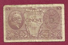 Buy ITALY 5 lire 1944 Banknote 337864 - Historic WWII Currency!