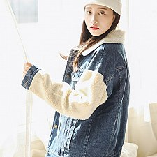 Buy women patchwork denim jacket COAT