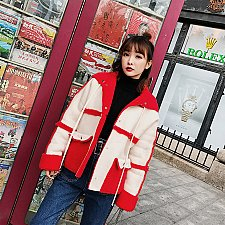 Buy women suede patchwork coat