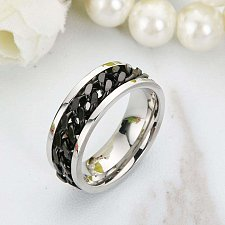 Buy fashion WOMEN MEN stainless steel ring black
