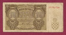 Buy CROATIA 10 Kuna 1941 Banknote ZY 651734 - WWII Currency II - Historic East Bloc