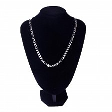 Buy men silver plated stainless steel 55cm necklace