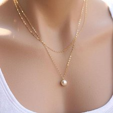 Buy women gold plate pearl necklace