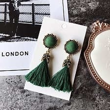 Buy 1 pair tassel vintage earrings green