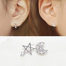 Buy women 1 set silver plated earrings