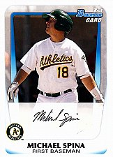 Buy Michael Spina #BP30 - Athletics 2011 Bowman Auto Baseball Trading Card