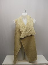 Buy PLUS SIZE 3X Womens Shearling Vest CONCEPTS Solid Camel Wide Collar Wrap Sleevel