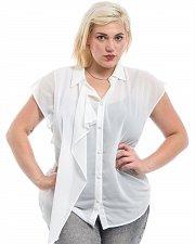 Buy PLUS SIZE 1X Women Sheer Shirt ROMAN Solid White Collar Neck Sleeveless Drape